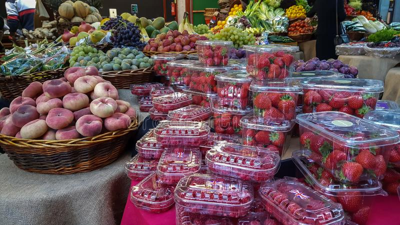 Fresh fruits for sale in the marketplace royalty free stock photos