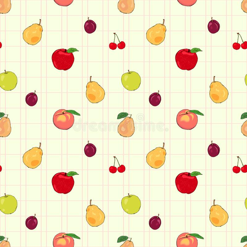 Fresh fruits seamless pattern with apples and pears stock illustration
