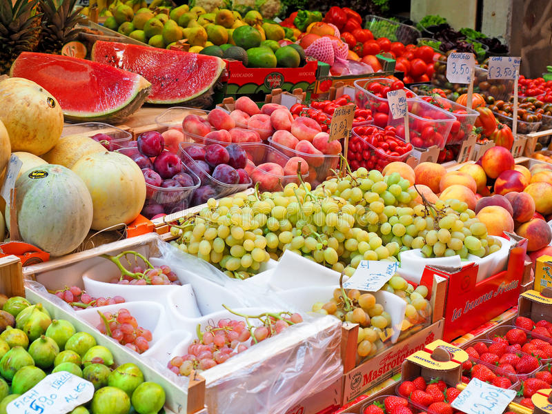 Fresh fruits shop market. Fresh fruits shop at a market stock photo