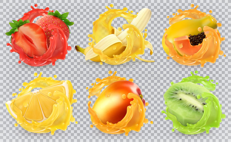 Fresh fruits and splashes, 3d realistic vector icon set vector illustration