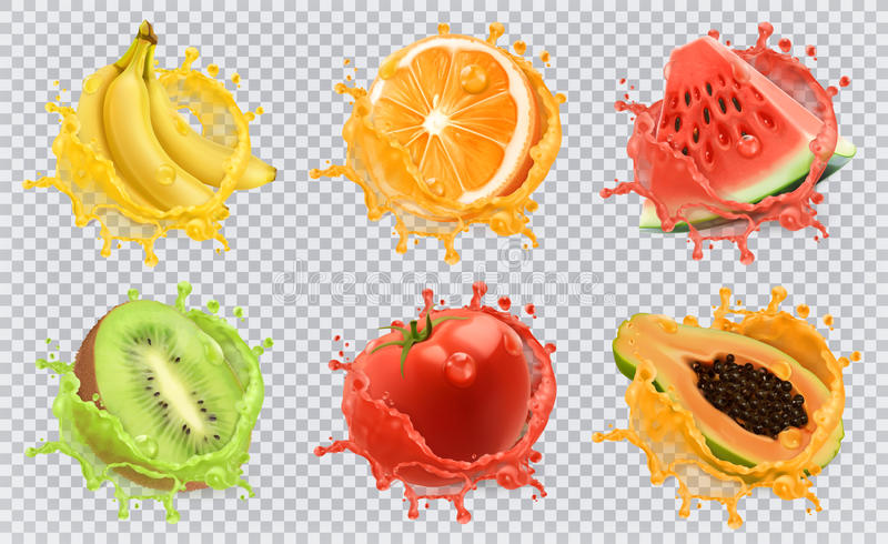 Fresh fruits and splashes, 3d vector icon set. Orange, kiwi fruit, banana, tomato, watermelon and papaya juice. Fresh fruits and splashes, 3d vector icon set vector illustration