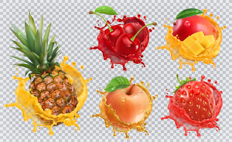 Fresh fruits and splashes, 3d vector icon set stock illustration