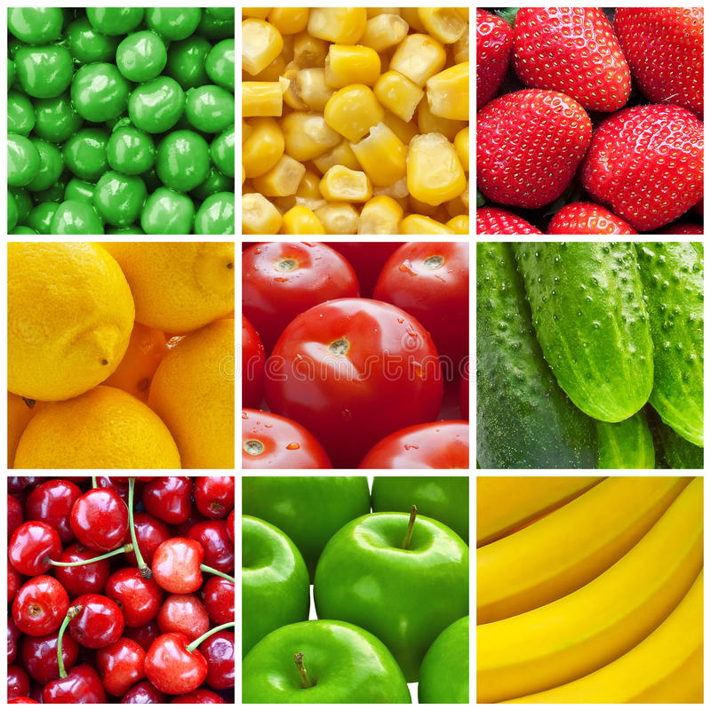 Fresh fruits and vegetables collage stock photography