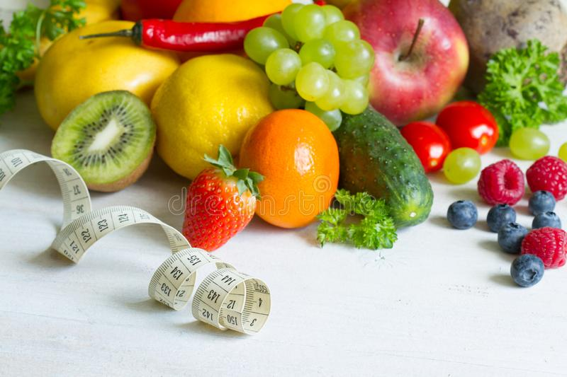 Fresh fruits  and vegetables healthy life style food fitness concept. Closeup royalty free stock photo