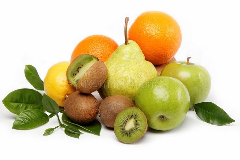 Fresh fruits and vegetables isolated on a white. stock photo