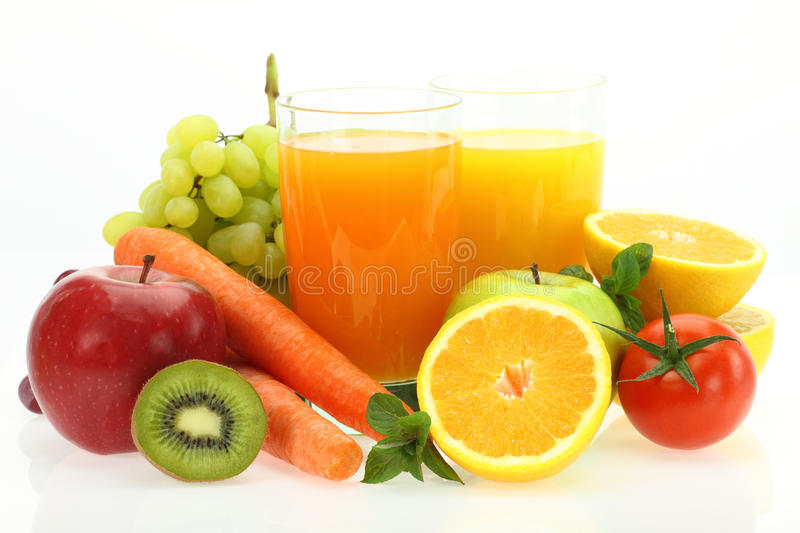 Fresh fruits, vegetables and juice royalty free stock photos