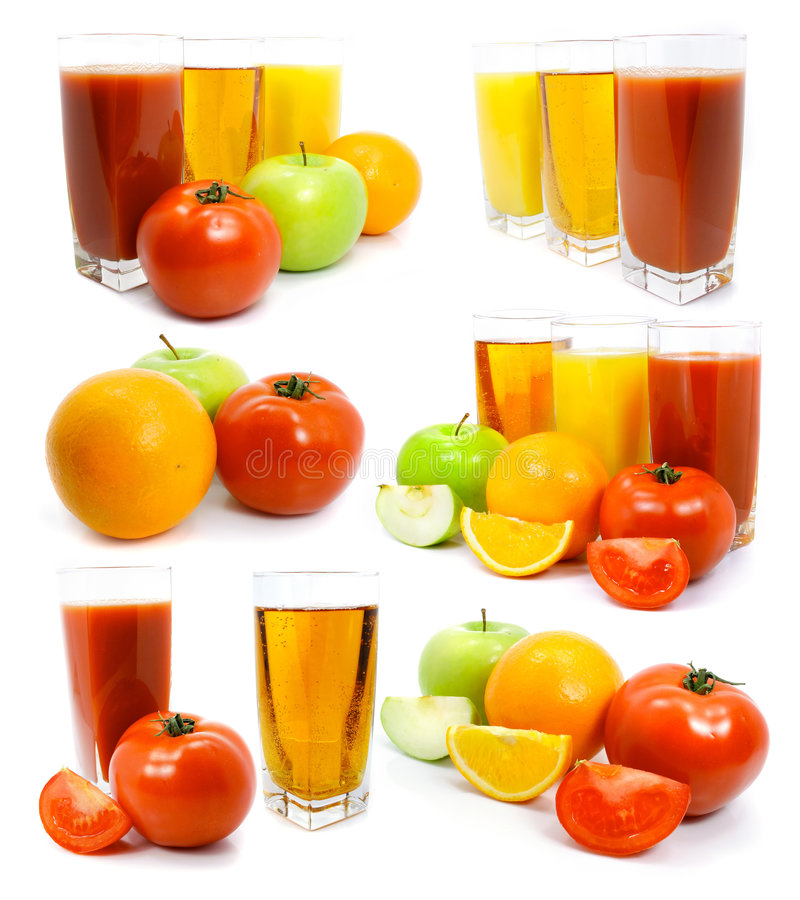 Fresh fruits vegetables and juice in glass royalty free stock images