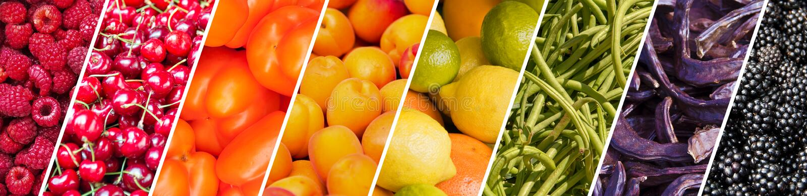 Fresh fruits and vegetables rainbow panoramic collage healthy eating concept royalty free stock photos
