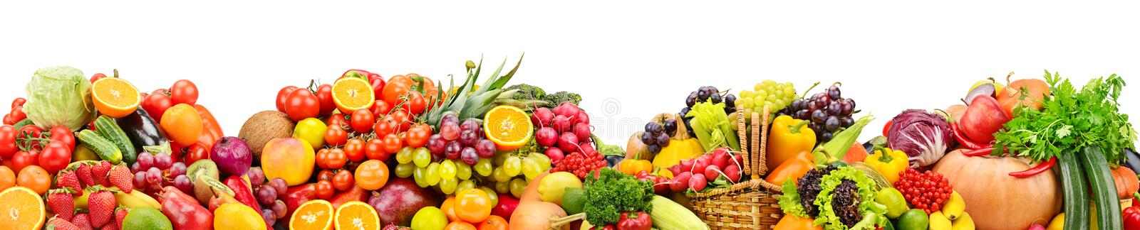 Fresh fruits and vegetables useful for health isolated on white. Background royalty free stock image