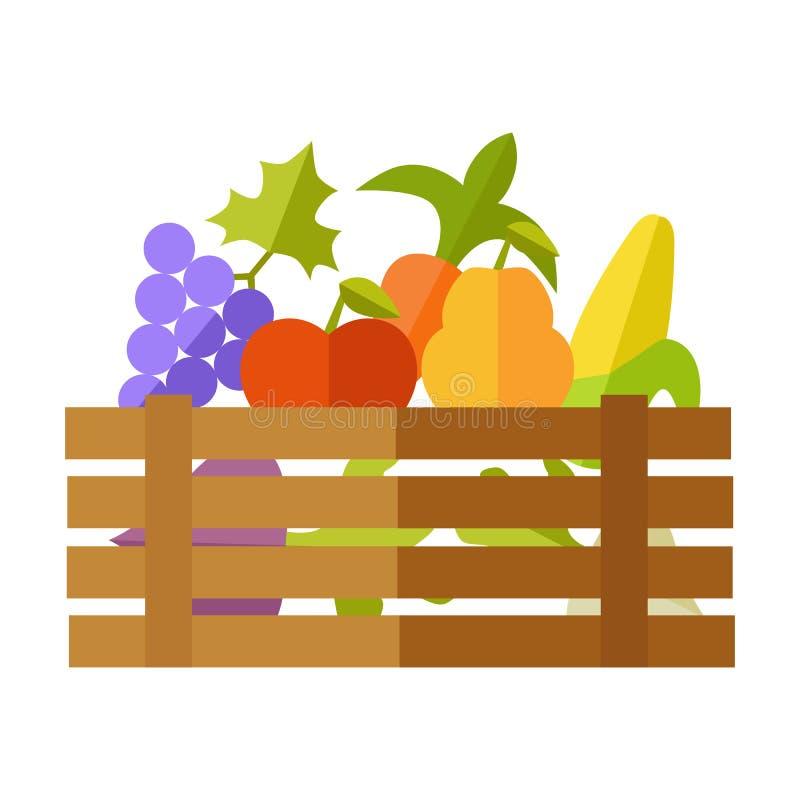 Fresh Fruits and Vegetables Vector Illustration. stock illustration