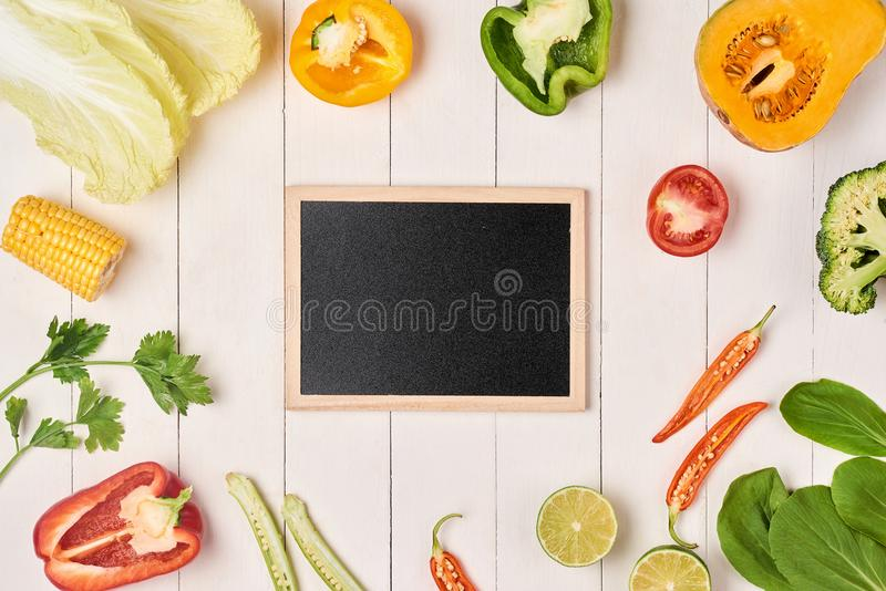 Download Fresh Fruits And Vegetables Vintage Borderand Slate Plate For Yo Stock Photo - Image of cutting, slate: 105322258