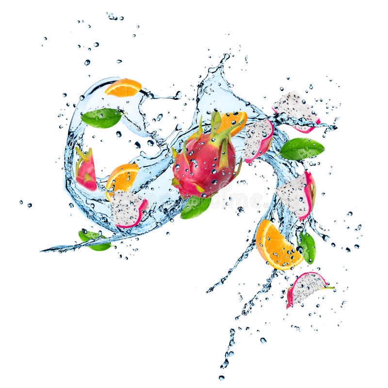 Fresh fruits with water splash. stock illustration