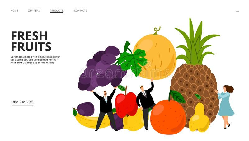 Fresh fruits web page. Tiny people, pineapple, bananas, plump, grapes vector illustration. Fruit diet landing page stock illustration