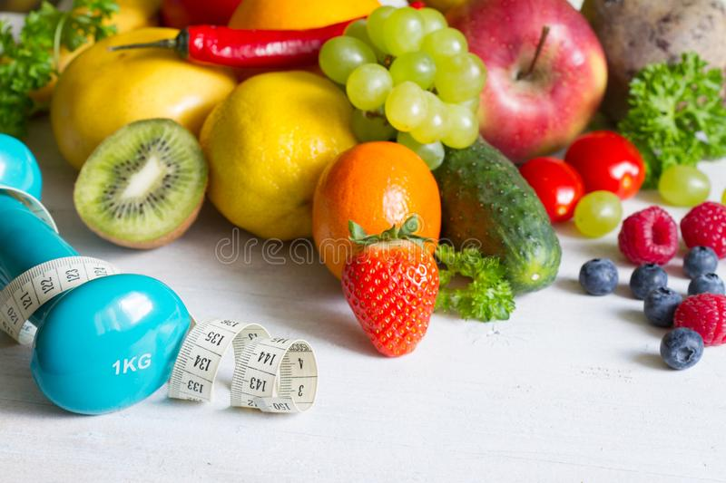 Fresh fruits  and yvegetables healthy life style food fitness concept royalty free stock image