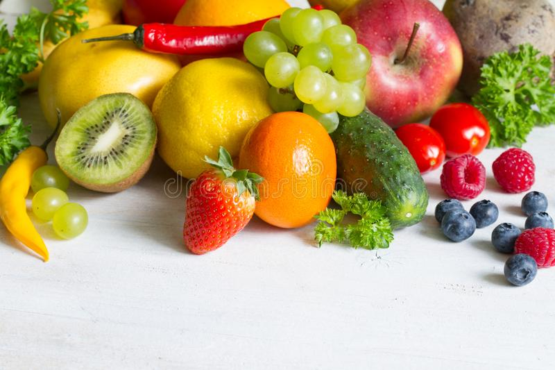 Fresh fruits  and yvegetables healthy life style food fitness concept. Art stock image