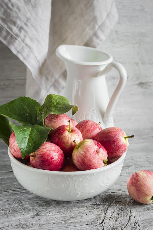 Fresh garden apples in a white bowl, vintage enameled pitcher royalty free stock images