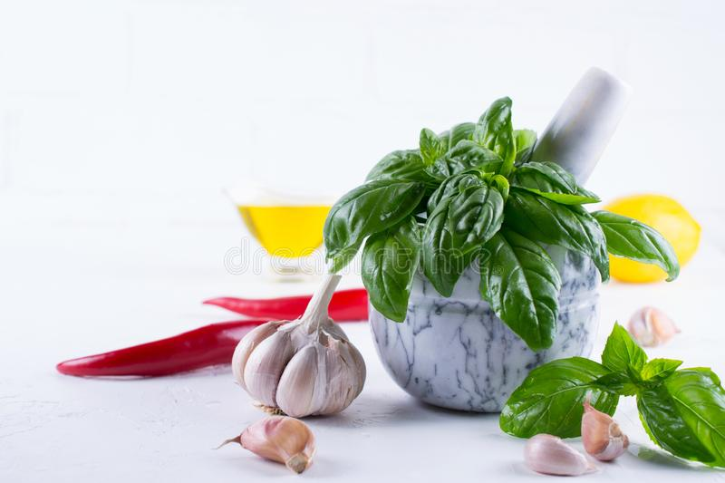 Fresh garden basil herbs in mortar and olive oil, garlic , red hot chili peppers, lemon. On the white background royalty free stock images