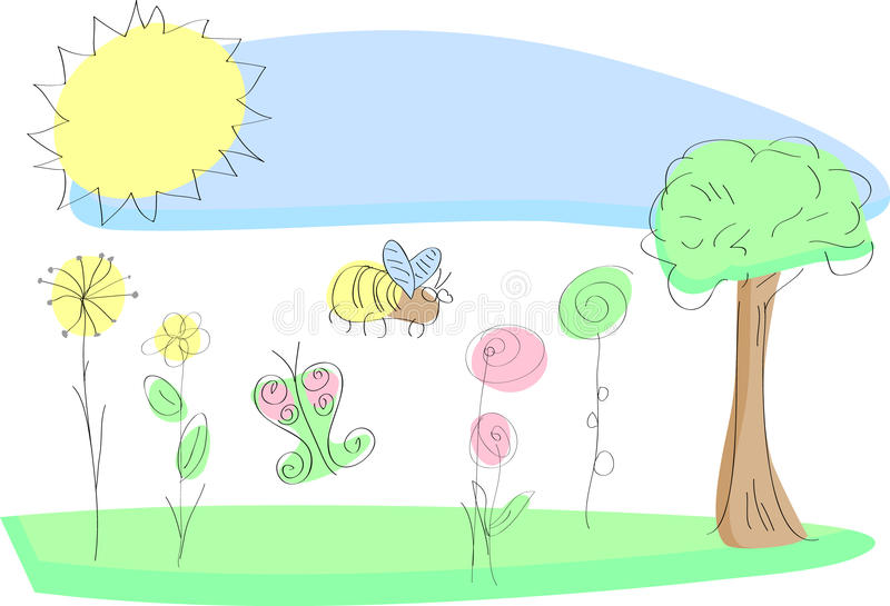 Fresh garden flowers in spring. Delicate sketched illustration of garden flowers in spring with a bee and butterfly enjoying the sunshine in fresh pastel colours vector illustration