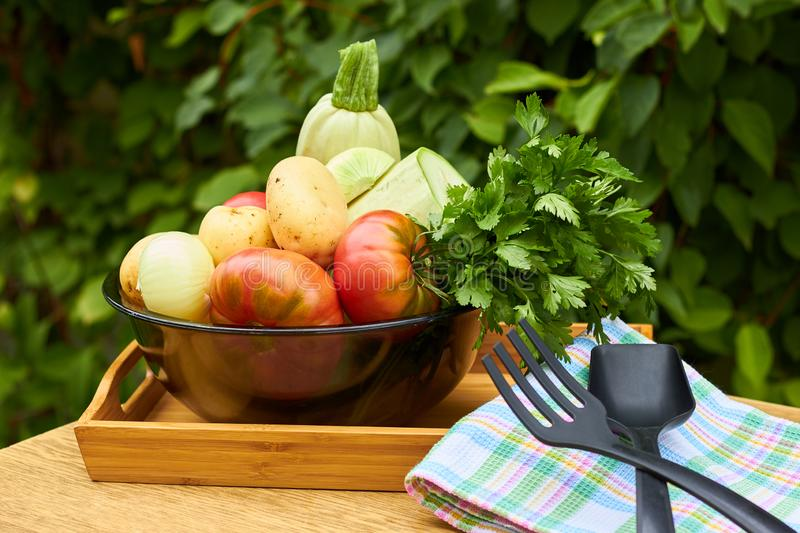 Fresh garden vegetables and herbs with kitchen stuff on wooden table on garden backgraund. Fresh garden vegetables and herbs: tomatoes, potatoes, onion, parsley stock images