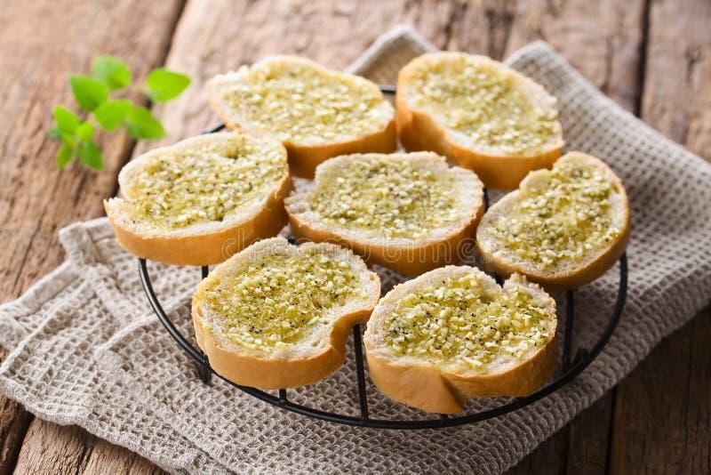 Fresh Garlic Bread with Oregano stock photo