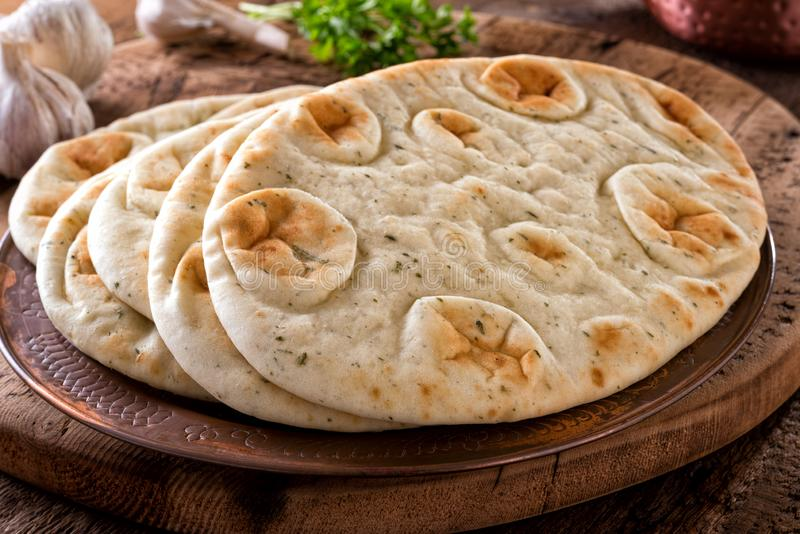 Garlic Cilantro Naan Bread stock photo