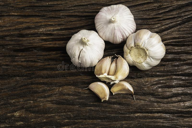 Fresh Garlic sliced and garlic bulb with copy space concept of food and healthy royalty free stock image