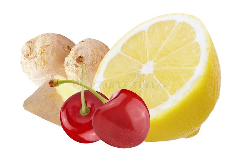 Fresh ginger with lemon and cherries isolated on white background stock image