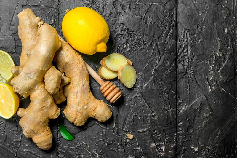 Fresh ginger with lemon royalty free stock photos