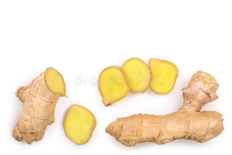 Fresh Ginger root and slice isolated on white background with copy space for your text. Top view. Flat lay.  stock illustration