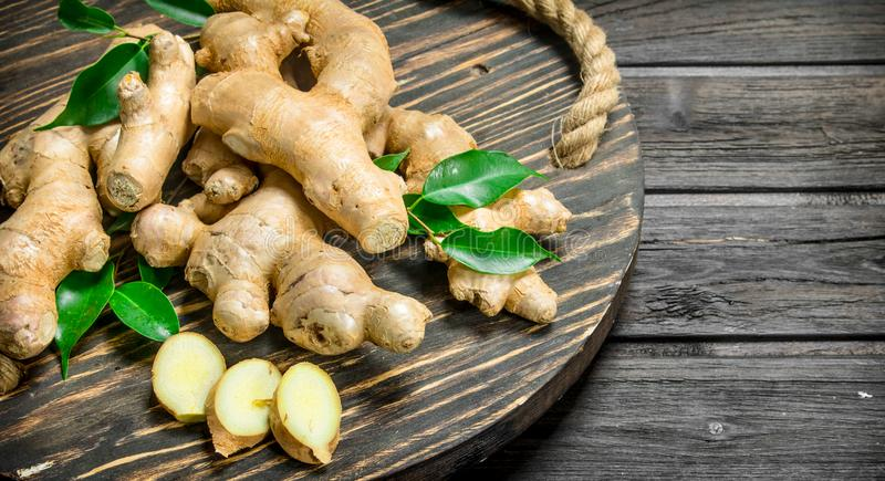 Fresh ginger on a tray stock photography