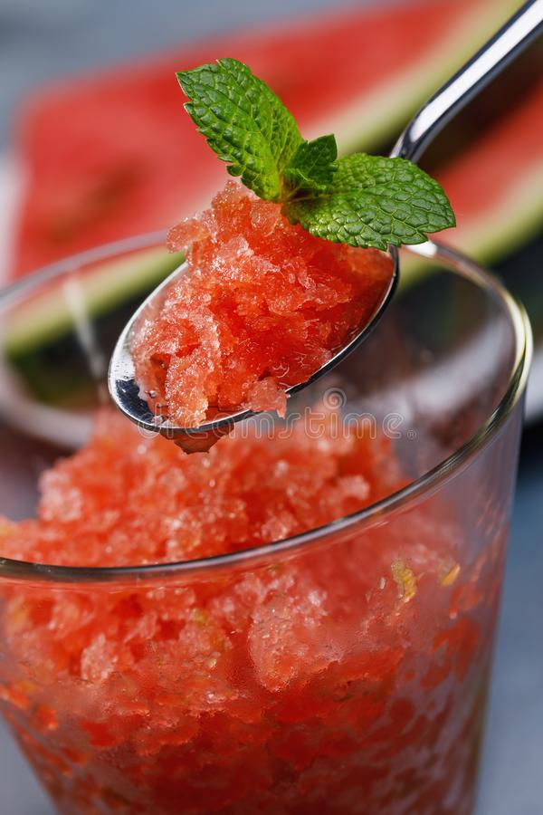 Fresh granite from watermelon and lime stock photography