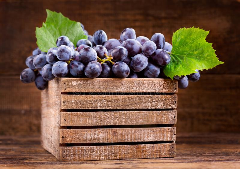 Fresh grape with leaves in a wooden box royalty free stock photos