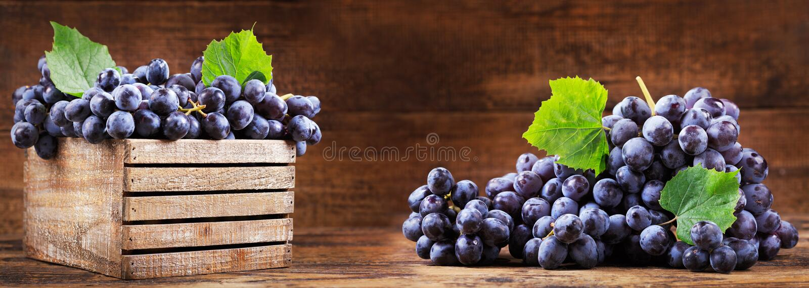 Fresh grape in a wooden box stock images