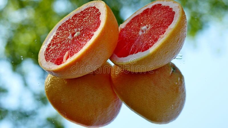 Fresh grapefruit halfs with self reflection royalty free stock photos