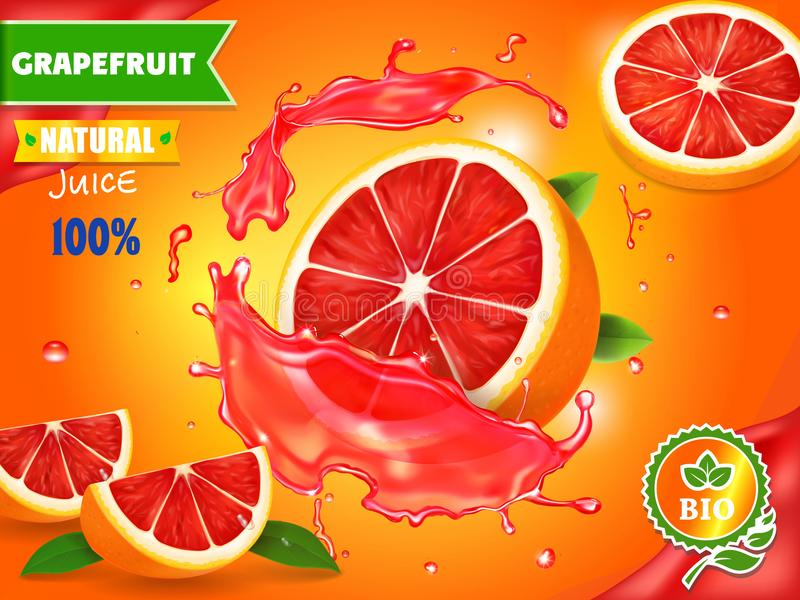 Fresh grapefruit juice ad. Refreshing citrus drink advertising vector. Illustration stock illustration
