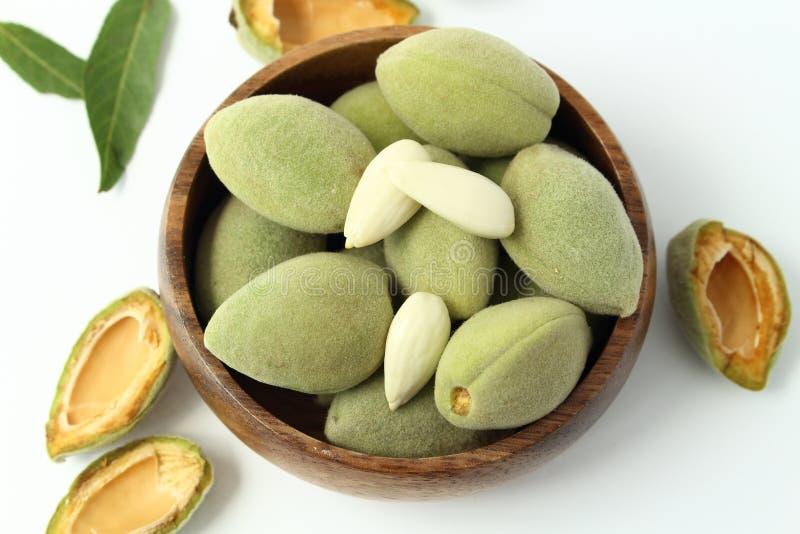 Fresh green almonds royalty free stock photo