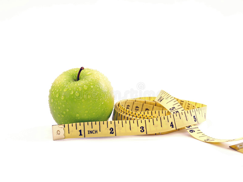 Download Fresh Green Apple Diet Measuring Tape Composition Stock Photo - Image: 5576906