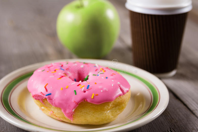 Download Fresh Green Apple, Donut And Take Away Coffee, Wooden Background With Copy Space Stock Image - Image: 83718881