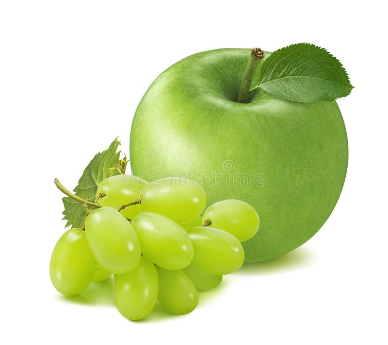 Fresh green apple and grapes isolated on white background stock image