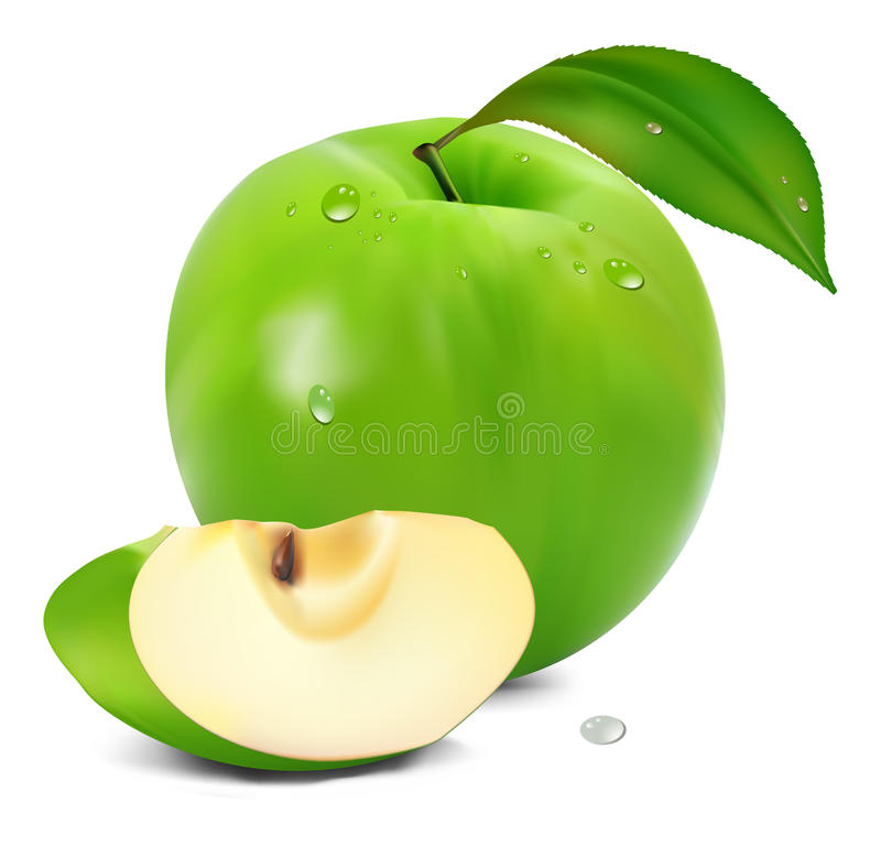 Download Fresh Green Apple With Green Leaf Stock Vector - Illustration of fruit, water: 14543218