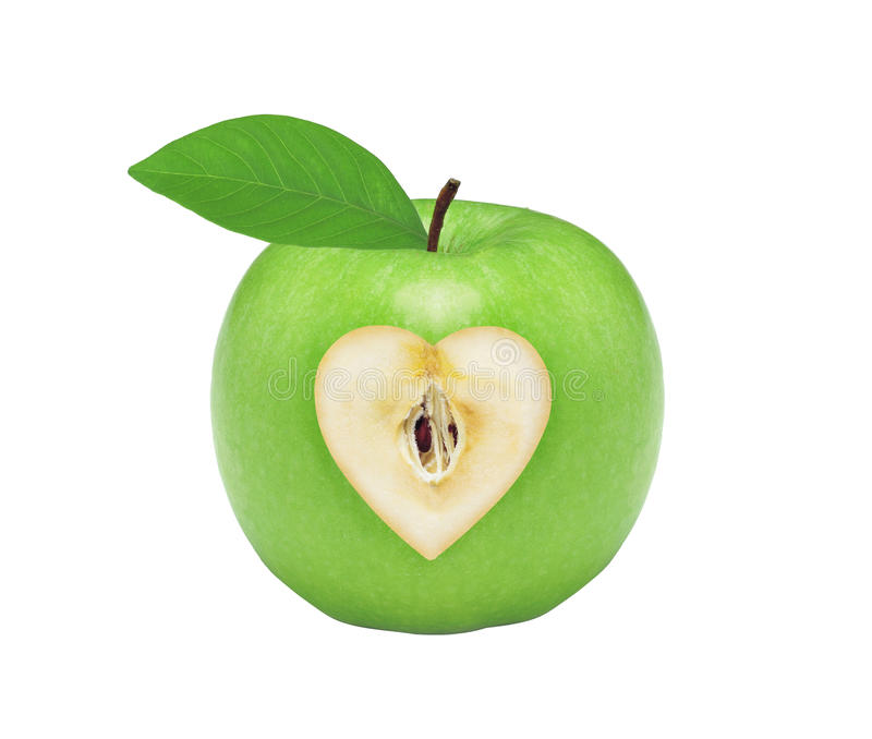 Fresh green apple with heart isolated on white stock image