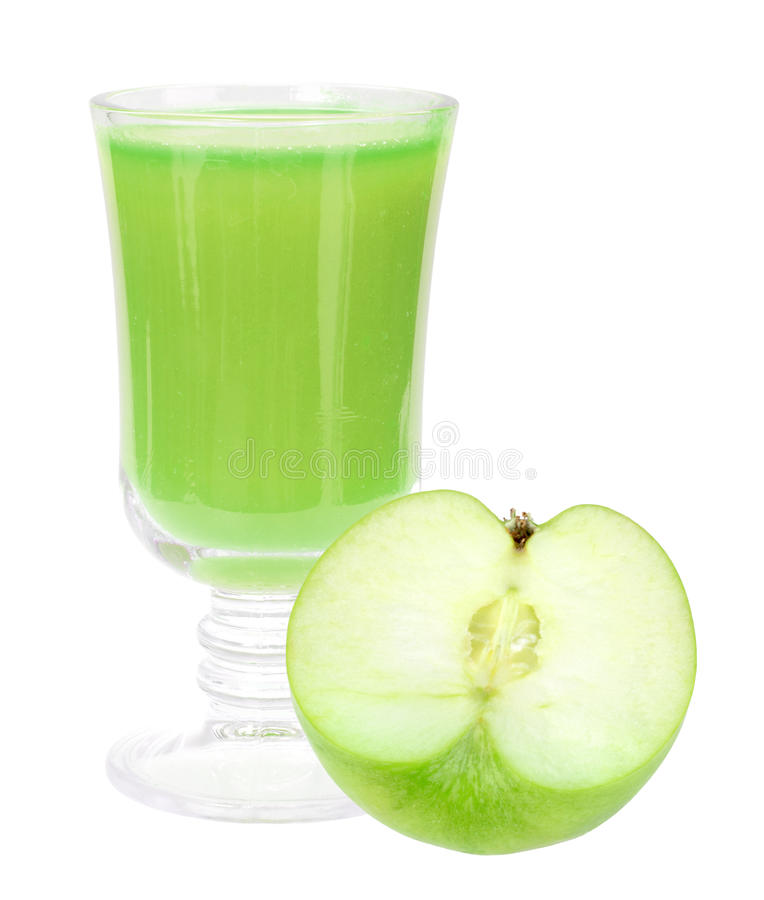 Fresh green-apple juice and apple. Single glass with fresh green-apple juice and apple. Isolated on white background. Close-up. Studio photography stock image