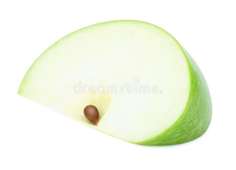 Fresh green apple slice isolated on white royalty free stock photo