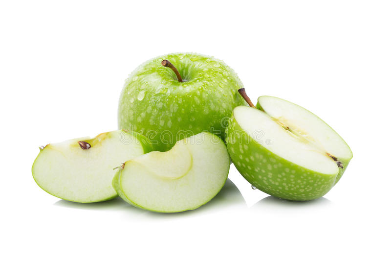 Fresh green apples and sliced green apple isolated on white back royalty free stock photography