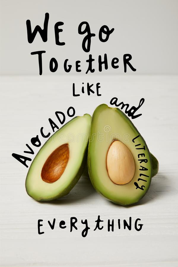 fresh green avocado, clean eating concept. 'We go together like avocado and literally everything ' inspiration royalty free stock image