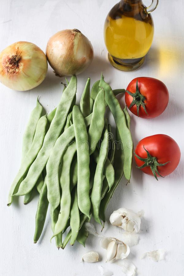 Fresh green bean meal ingredients, Turkish traditional food stock images