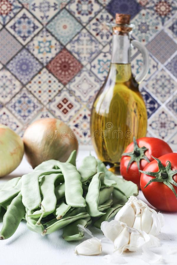 Fresh green bean meal ingredients, Turkish traditional food stock photos
