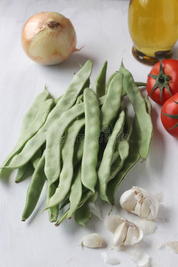 Fresh green bean meal ingredients, Turkish traditional food royalty free stock photo