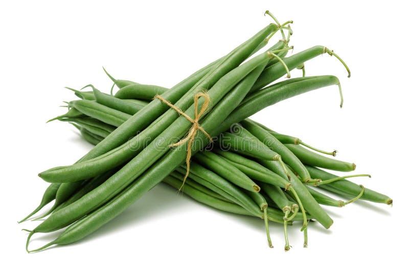 Fresh green beans isolated on white royalty free stock photos