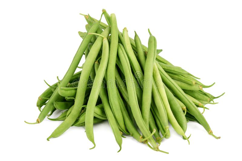 Fresh green beans isolated on a white background. Fresh green beans isolated on white background stock photos